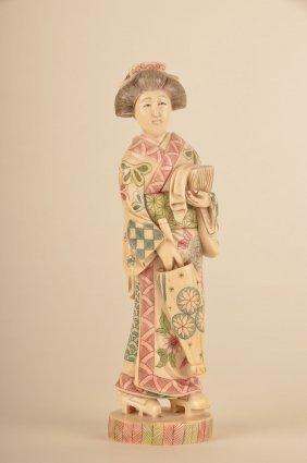 Japanese Carved And Polychrome Ivory Geisha With Um