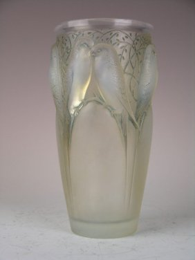 "Rene Lalique ""Ceylon"" Vase In Opalescent Glass"