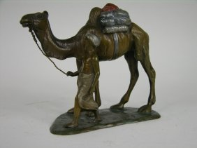 Bronze Arab Figure Of A Man With Camel.