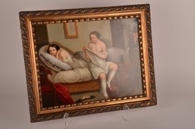 19th Century Oil On Copper, The Peeping Tom, Unsigne