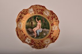 "Royal Vienna Plate Titled ""Fleurs D Eau"" With A Nud"