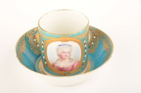 18 Th Century Sevres Portrait Cup And Saucer.