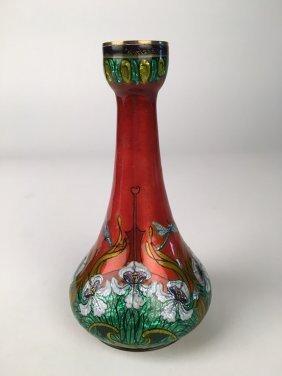 Jules Sarlandie (1874-1936) Enamelled Copper Vase.