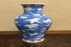 Large Blue White Porcelain Vase