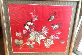 Embroidered Silk Bird Painting