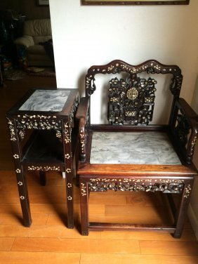 2 Piece Rosewood Stand And Chair