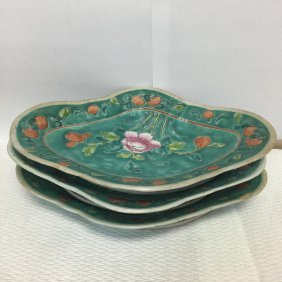 3 Porcelain Flower Serving Platter