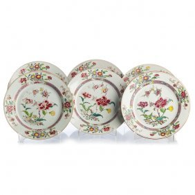 Six Plates In Chinese Export Porcelain, Famille Rose