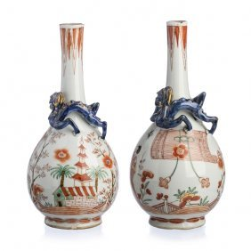 Pair Of Dutch Decorated Kakiemon Style Bottles In