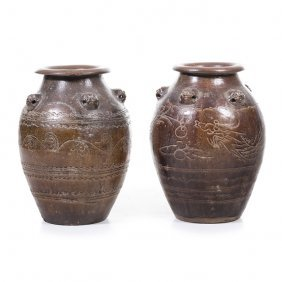 Pair Of Chinese Spice Pots In Sandstone