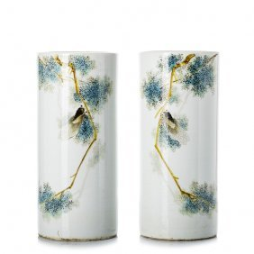 Pair Of Tubes 'butterflies' In Chinese Porcelain,