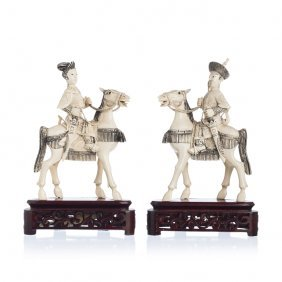Couple Of Chinese Emperors Riding A Horse In Ivory