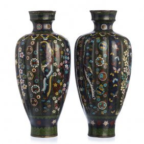 Pair Of Cloisonné Vases, Japanese