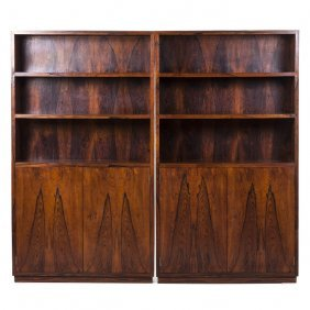 Jalco (atr.) Pair Of Modernist Bookcases In Rosewo