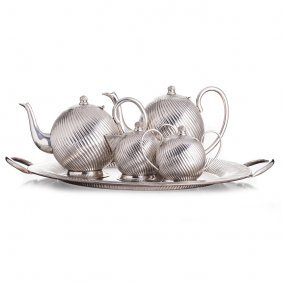 Tea And Coffe Set With A Tray In Spiralled Silver