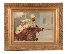 Painting Of Mounted Russian Cossack.