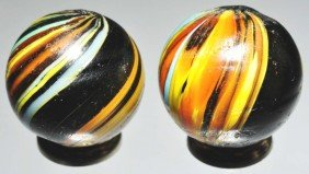 Lot Of 2: Indian Swirl Marbles.