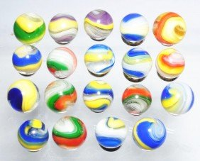 Lot Of 19: Akro Agate Popeye Marbles.