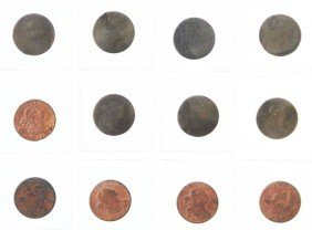 Lot Of 11: Early Large Cent Coins.
