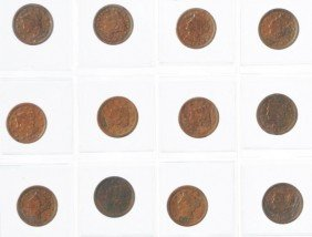 Lot Of 22: Large Cent Coins.