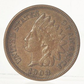 1908-S Indian Head Cent BU.