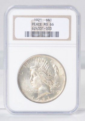 1921 Peace Silver Dollar NGC MS 66.
