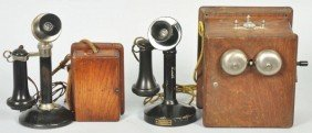 Lot Of 2: Manual Candlestick Telephones.