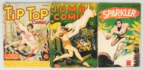 Lot Of 3: 1940s Tarzan & Jungle Comic Books.
