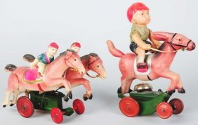 Lot Of 2: Celluloid Horse Riding Toys.