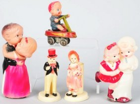 Lot Of 5: Celluloid Figural & Wind-Up Toys.