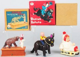 Lot Of 3: Tin & Celluloid Wind-Up Toys.
