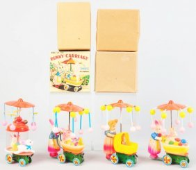 Lot Of 4: Celluloid Push Cart Wind-Up Toys.