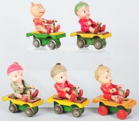 Lot Of 5: Celluloid & Tin Riding Wind-Up Toys.