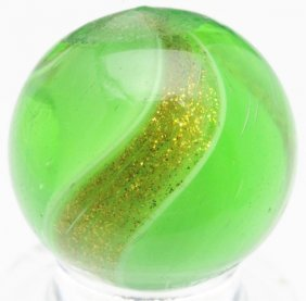 Green Glass Ribbon Lutz Marble.