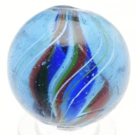 Blue Glass Divided Core Swirl Marble.