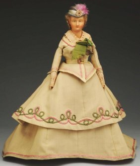 Rare German Wax Over Lady Doll.