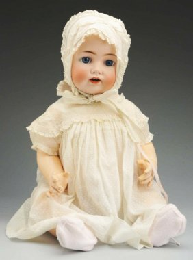 607 Life Size German Bisque Character Baby Doll Lot 607