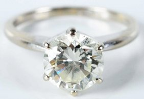 14k White Gold Diamond Solitaire Ring.
