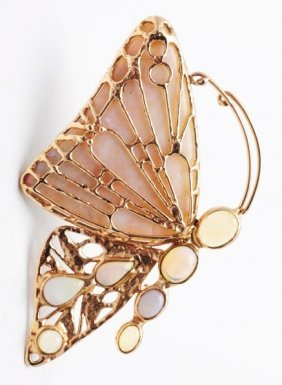 14k Gold Butterfly Brooch With 8 Opals.