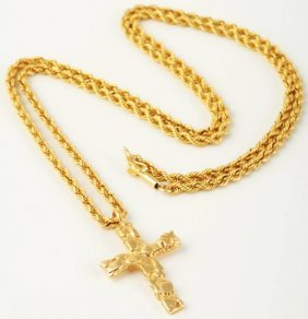 14k Gold Rope Necklace With Cross.