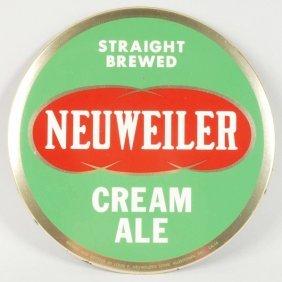 Neuweiler Cream Ale Tin Over Cardboard Sign.