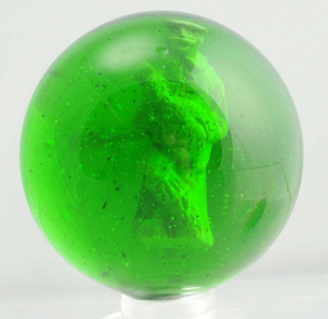 Green Glass Marble : Green glass man playing mandolin sulphide marble lot