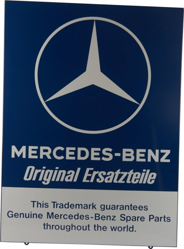 Mercedes benz original ersatzteile porcelain sign lot 283 for Mercedes benz sign in