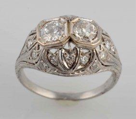 Deco Platinum Filigree Diamond Ring.