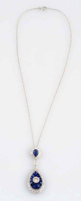 3.25 Ct. Diamond & Sapphire Pendant.