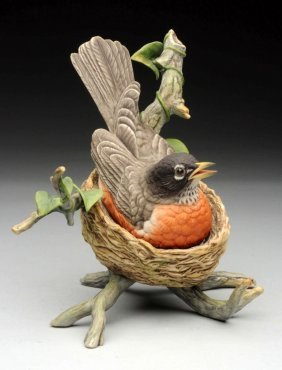 Signed Boehm Porcelain Robin On Nest.
