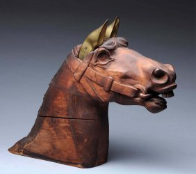 Carved Wooden Horse Head With Bronze Ears.