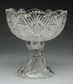 American Cut Glass Punch Bowl & Pedestal.