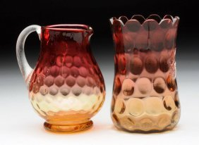 Lot Of 2: Amberina Pitcher And Vase.