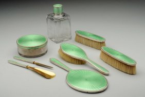A Tiffany Sterling And Enamel Dresser Set.